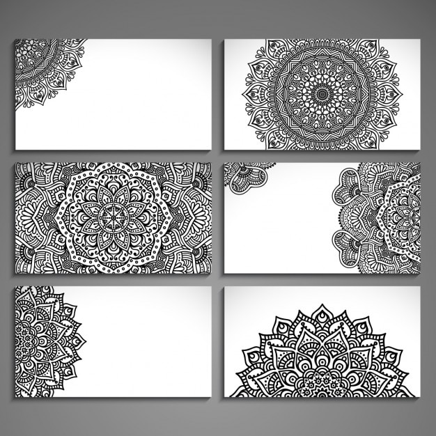 Assortment of cards with ethnic abstract drawings Free Vector