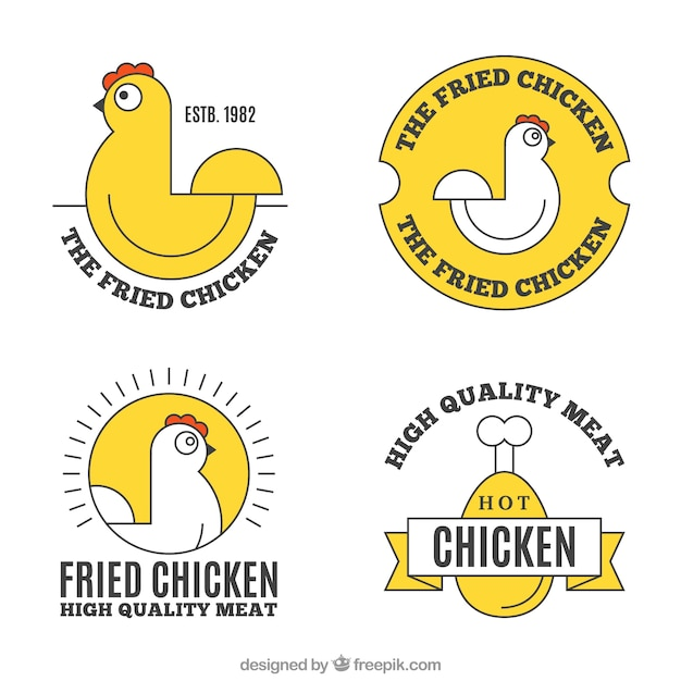 Assortment of chicken logos with yellow elements Premium Vector