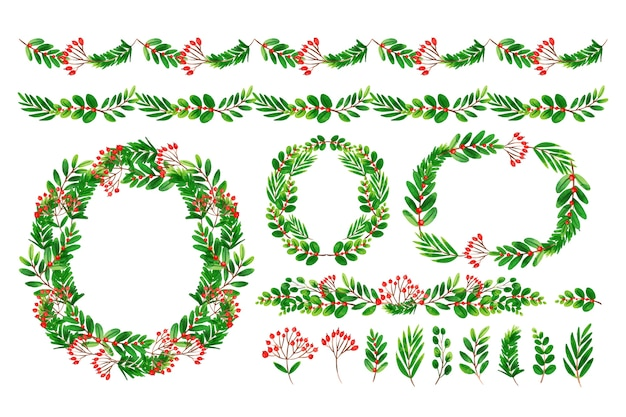 Assortment of christmas decoration in watercolor Free Vector