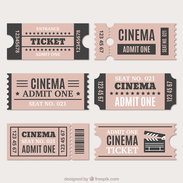 Assortment of cinema tickets in vintage style Free Vector