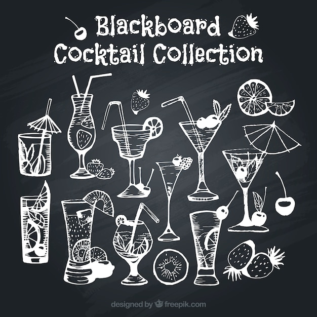 Assortment of cocktails on blackboard effect Free Vector