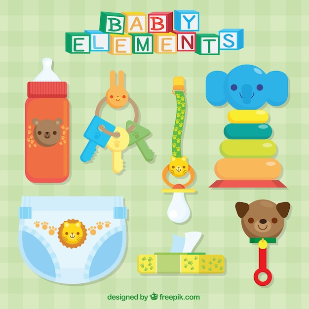 Assortment of colorful baby accessories Free Vector