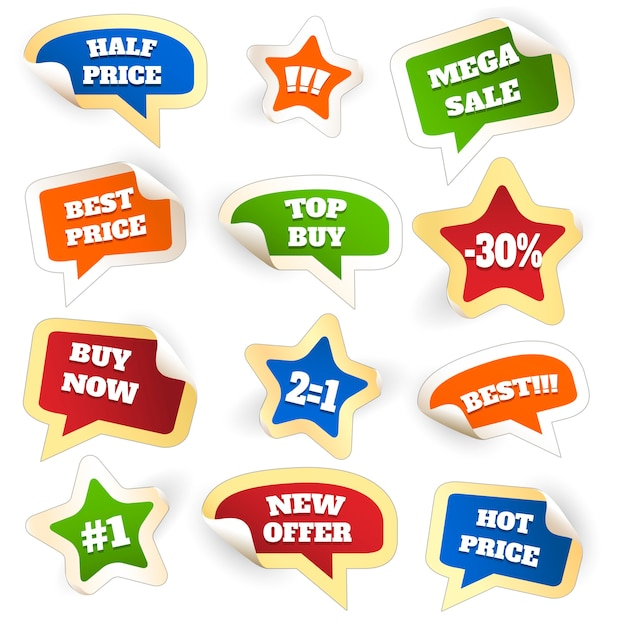 Assortimento di tag di vendita scontati colorati in bolle di parola Vettore gratuito
