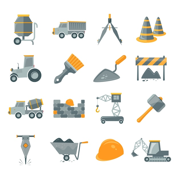 Assortment of construction items Free Vector