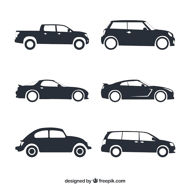 Assortment of fantastic car silhouettes Free Vector