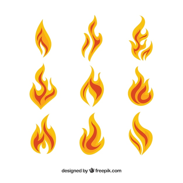 Assortment of fantastic flames in flat design Free Vector
