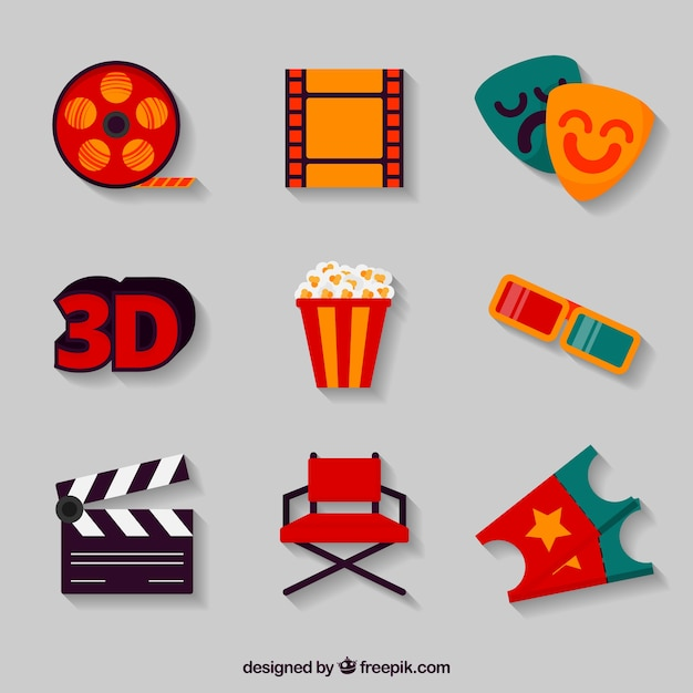 Assortment of film objects in flat design Free Vector