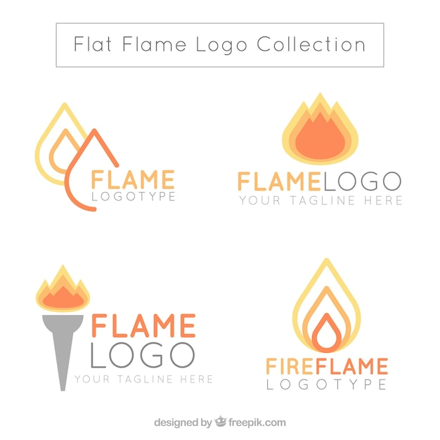 Assortment of flame logos in flat design Free Vector