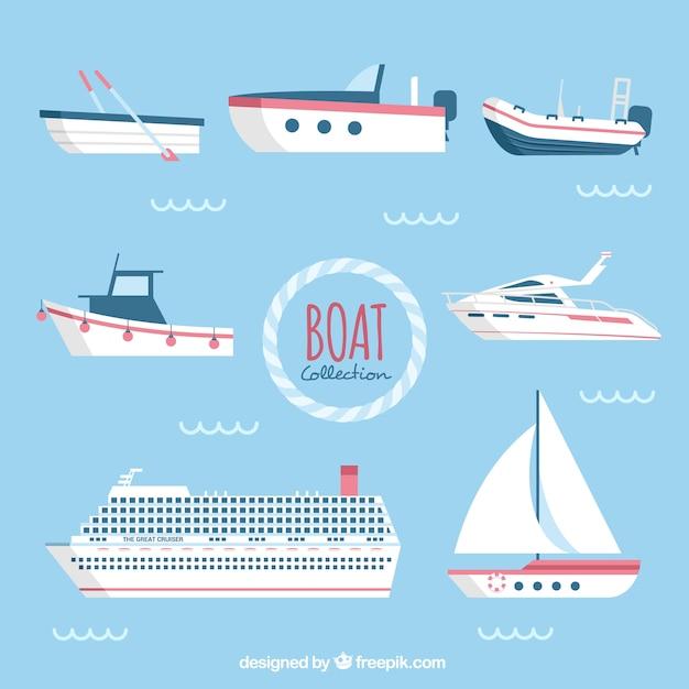 Assortment of flat boats with red details Free Vector