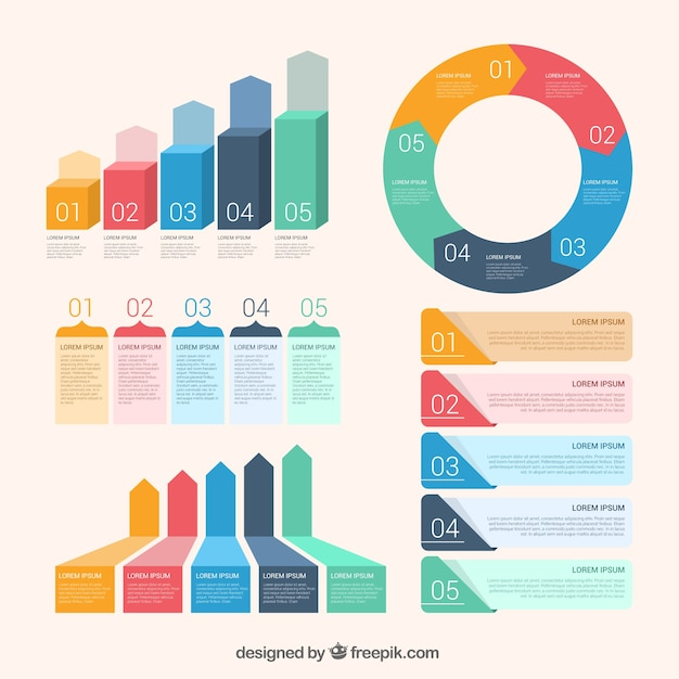 Assortment of flat infographic elements Free Vector