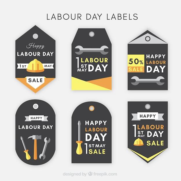 Assortimento di etichette piatte per il giorno internazionale del lavoratore Vettore gratuito