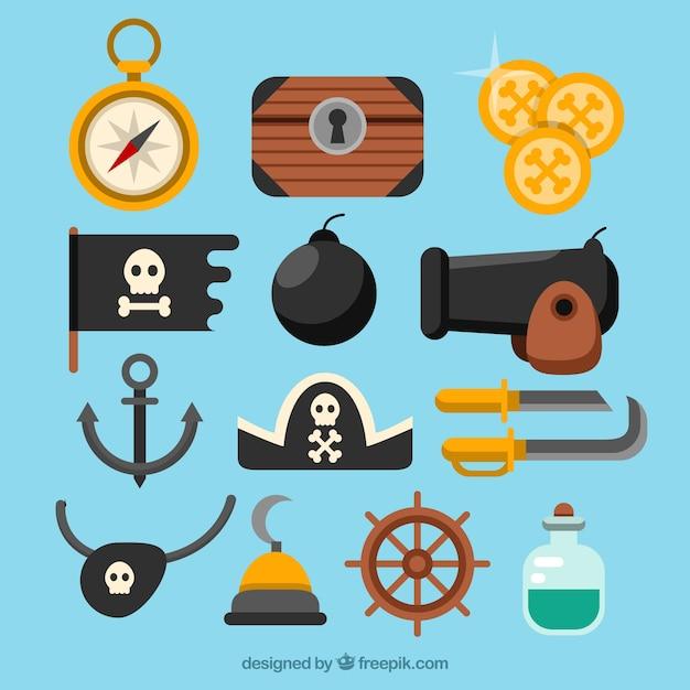 Assortimento di elementi pirata piatti Vettore gratuito