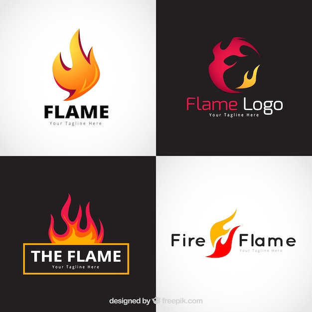 Assortment of four flame logos in flat design Free Vector