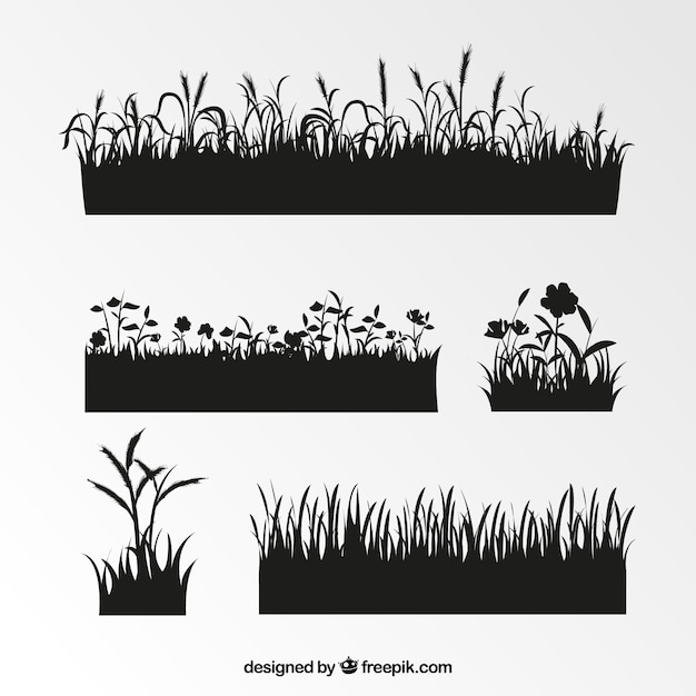 Assortment of grass silhouettes with great designs Free Vector