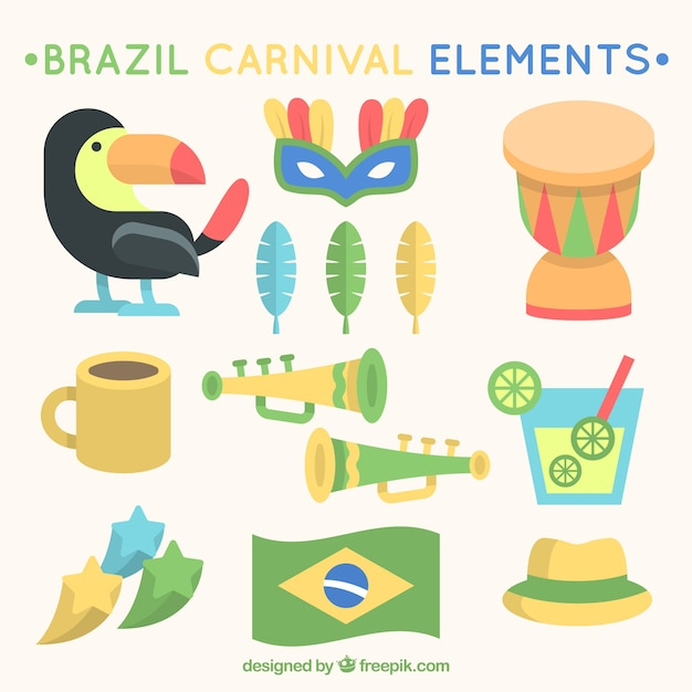 Assortment of great items for brazilian carnival in flat design Free Vector