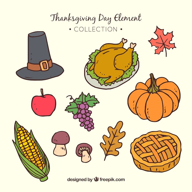 Assortment of hand drawn thanksgiving elements Free Vector