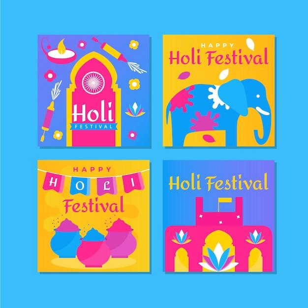Assortment of instagram posts for holi festival Free Vector