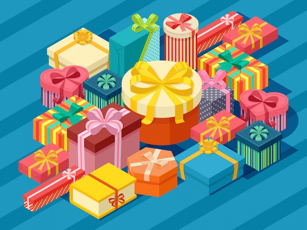 Assortment of isometric present boxes Premium Vector