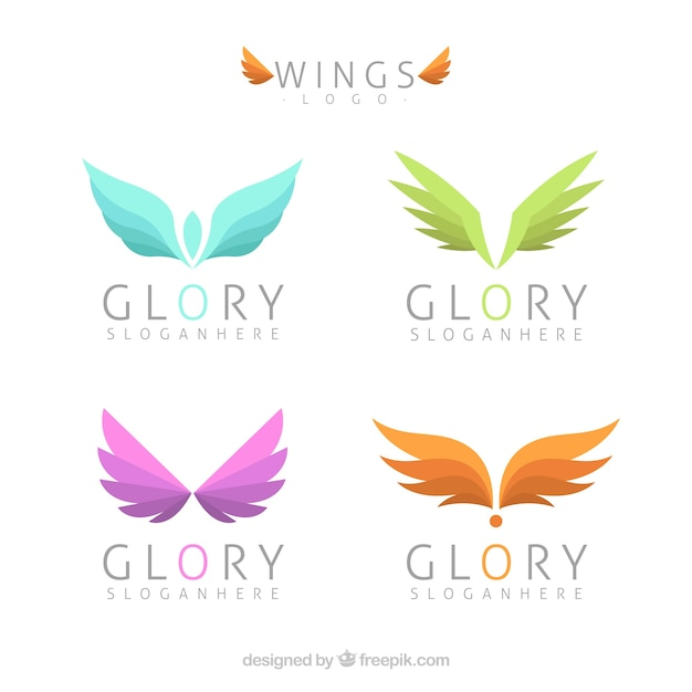 Assortment of logos with colored wings Premium Vector
