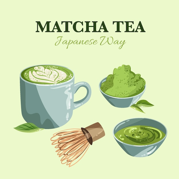 Assortment of matcha tea Free Vector