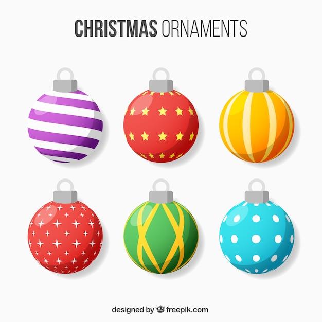 Assortment of abstract christmas balls Free Vector