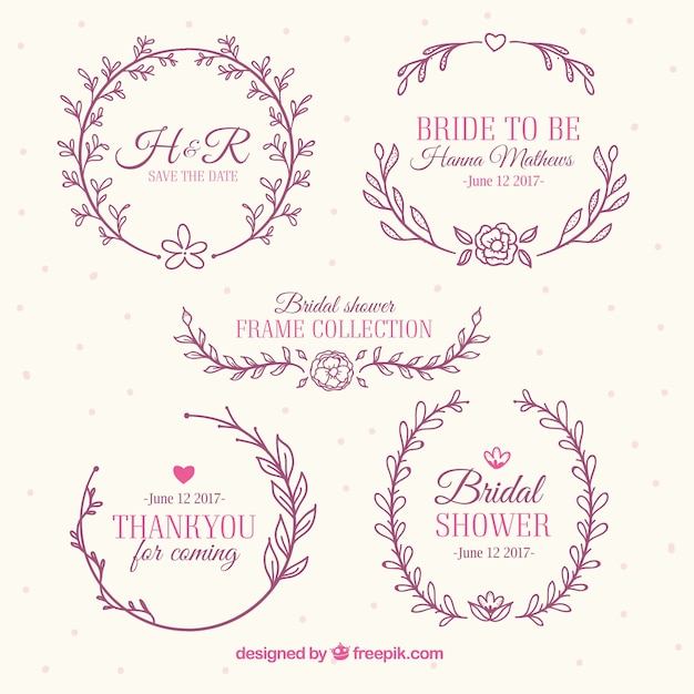 assortment of beautiful bridal shower frames with floral decoration free vector