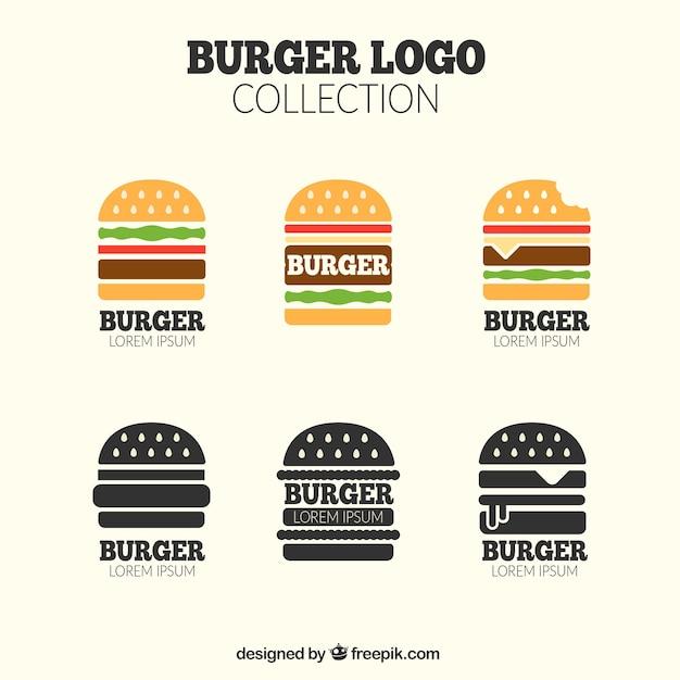 Ассортимент логотипов для гамбургеров в плоском дизайне Бесплатные векторы
