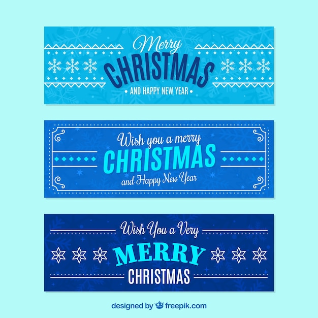 Assortment of christmas banners in blue tones Free Vector
