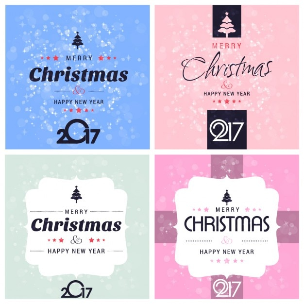 Assortment of christmas cards and happy new year Free Vector
