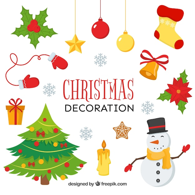 Assortment of christmas decorations Vector | Free Download
