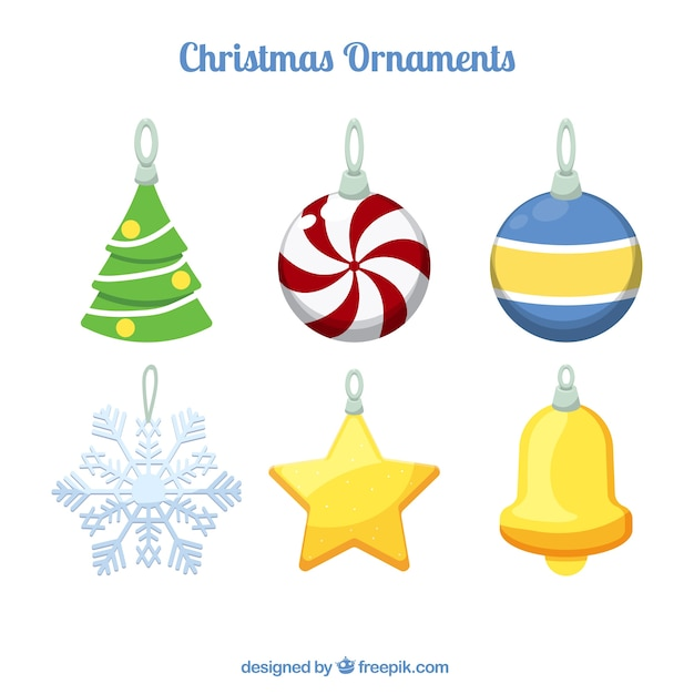 Assortment of christmas ornaments for the tree Free Vector