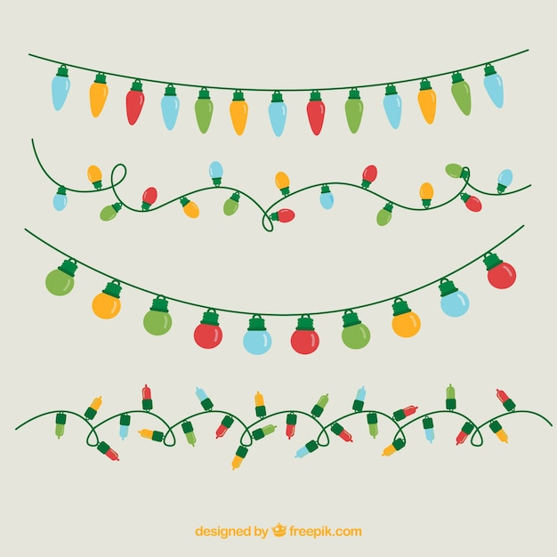 Assortment Of Colored Christmas Lights Free Vector