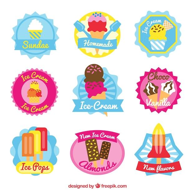 Assortment of colored ice cream stickers in flat design