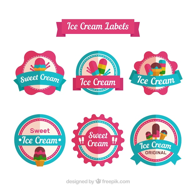 Assortment of colored stickers with ice creams in flat design