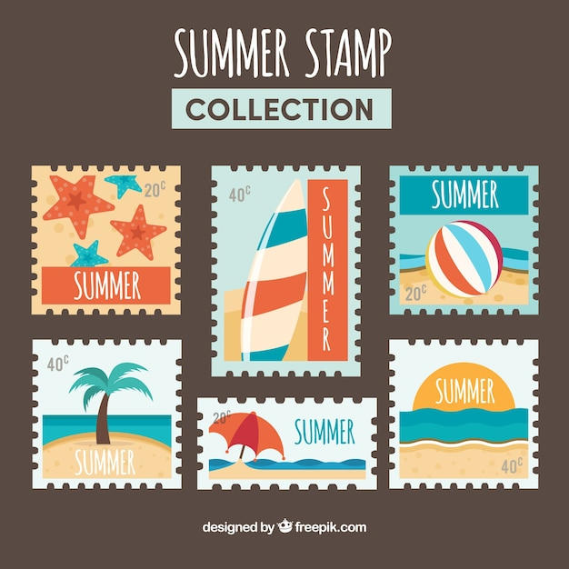 assortment of colored summer post stamps vector free download