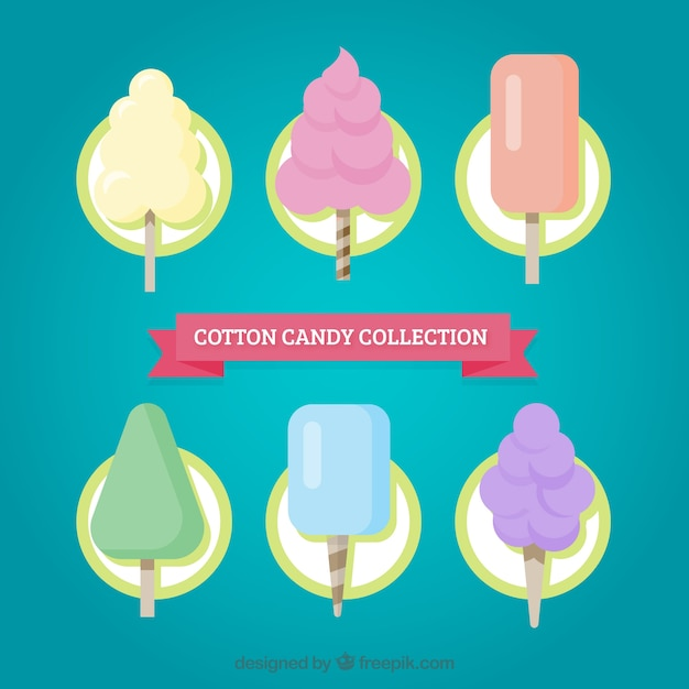 Assortment of cotton candy in flat design
