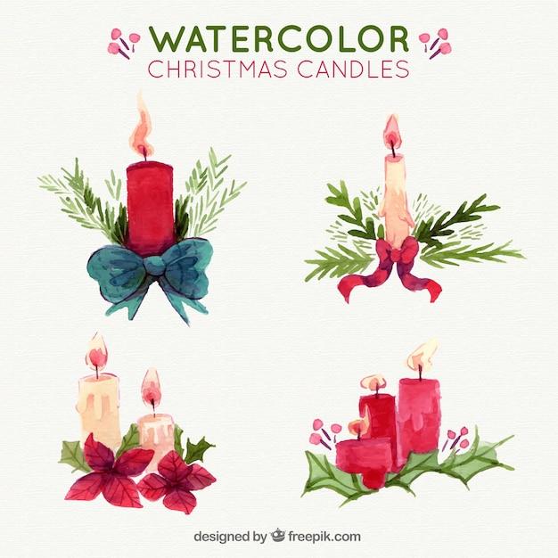 Assortment of decorative watercolor candles Free Vector