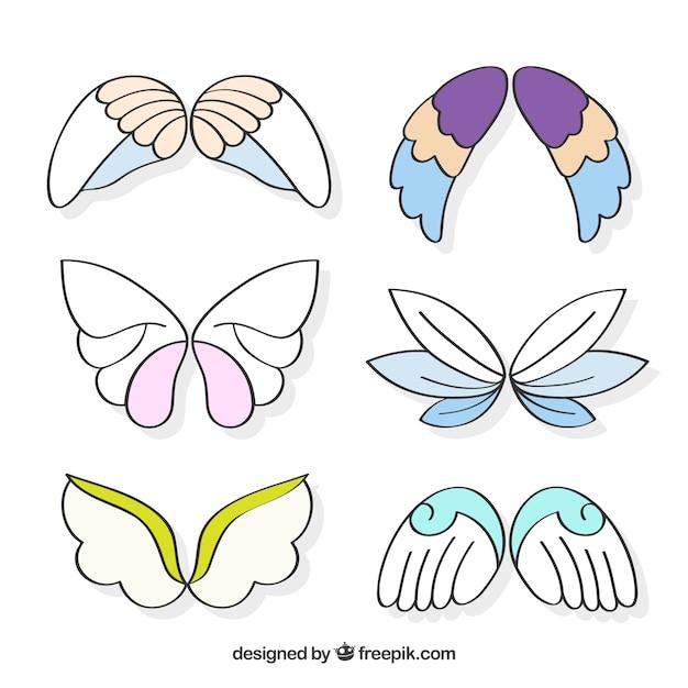 装飾的な羽の色の要素の盛り合わせ 無料ベクター