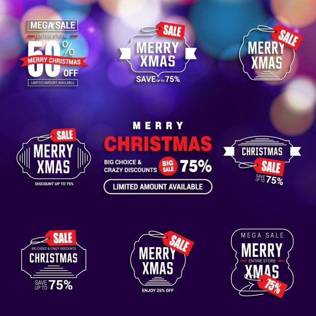 Assortment of discount christmas stickers Free Vector