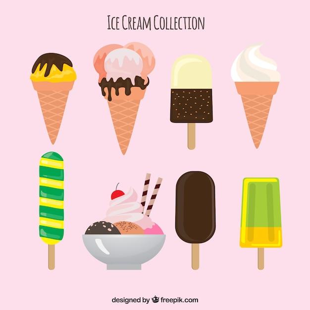 Assortment of eight summer desserts in flat\ design
