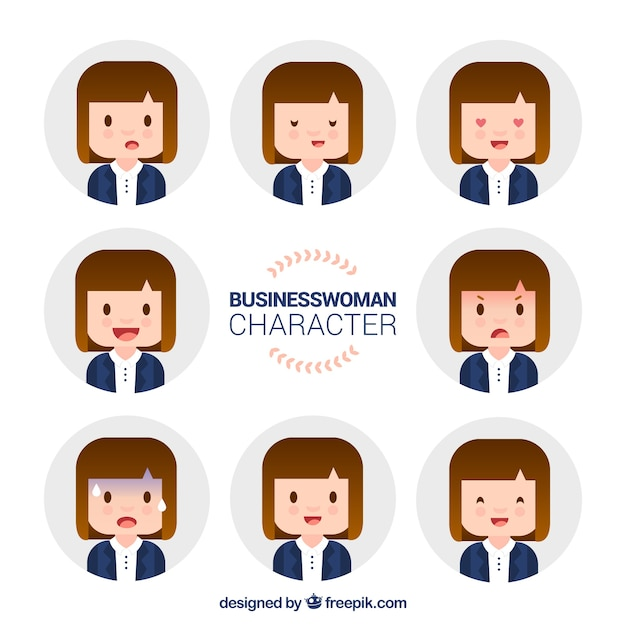 Character Design Vector Free Download : Assortment of expressive businesswoman character in flat