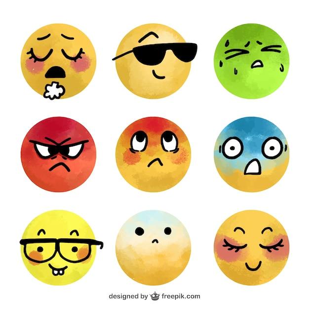 Assortment of fantastic watercolor emojis Free Vector