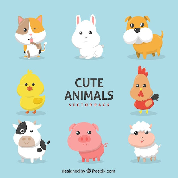 Assortment of farm animals in flat design Free Vector
