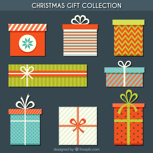 Assortment of flat christmas gifts Free Vector