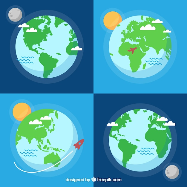 Flat Earth Map Download.Assortment Of Flat Earth Globes With Decorative Elements Vector
