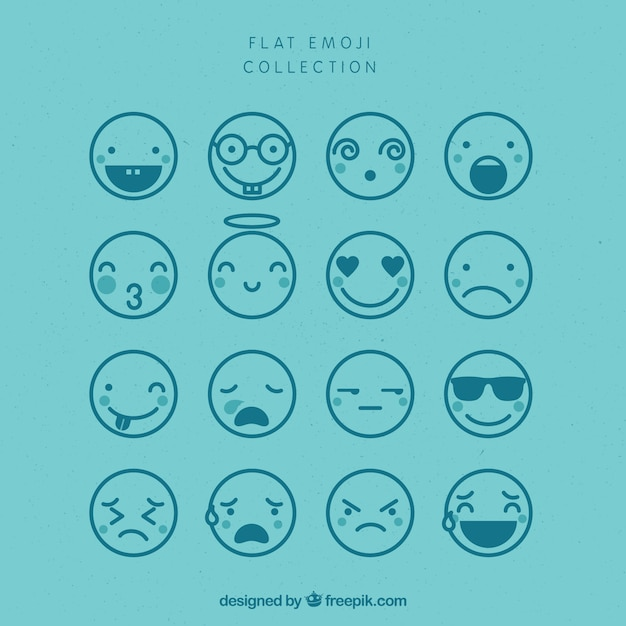 Assortment of flat emojis in blue tones Free Vector