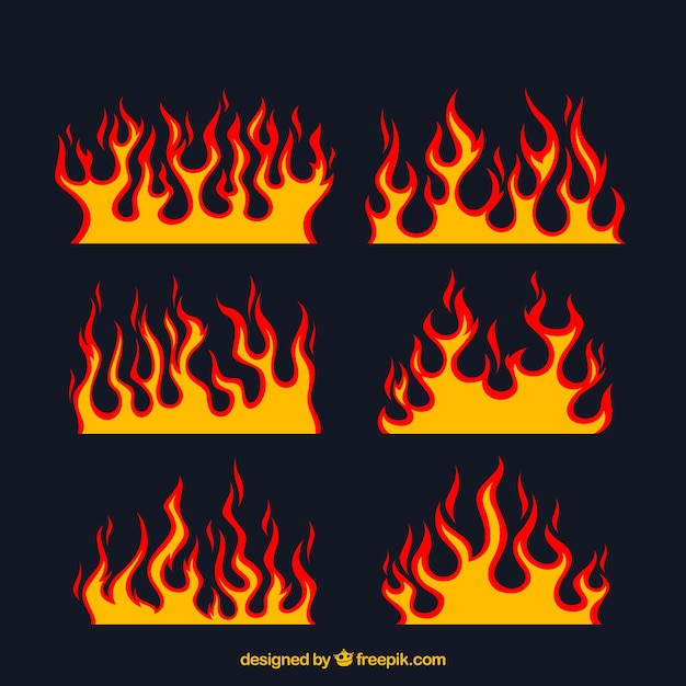 assortment of flat flames with different designs vector