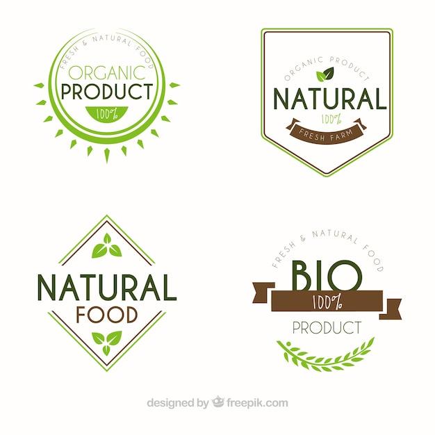 Assortment of flat organic food labels