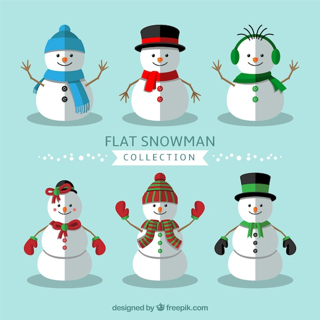 Assortment of flat snowmen with winter elements Free Vector