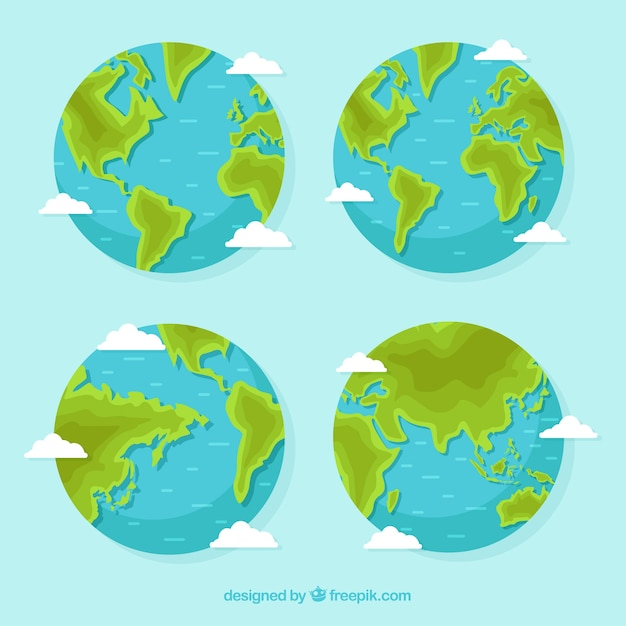 Assortment of four flat earth globes Free Vector